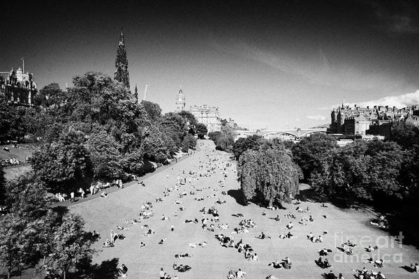 Princes Print featuring the photograph Princes Street Gardens On A Hot Summers Day In Edinburgh Scotland Uk United Kingdom by Joe Fox