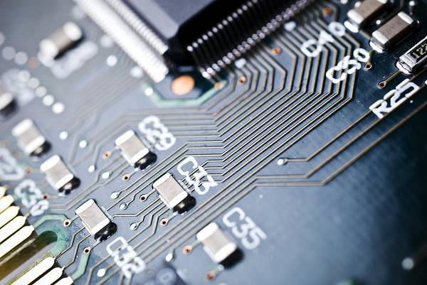 Circuit Board Art Print featuring the photograph Printed Circuit Board Components by Arno Massee