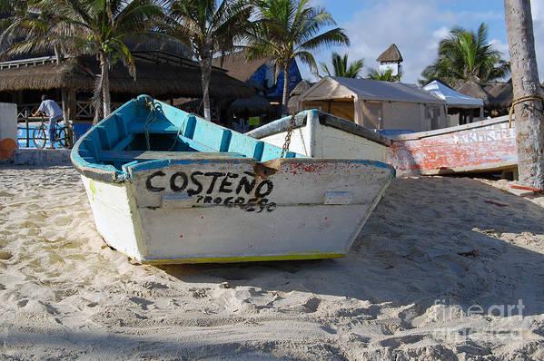Progreso Art Print featuring the photograph Progreso Mexico Fishing Boat by Shawn O'Brien