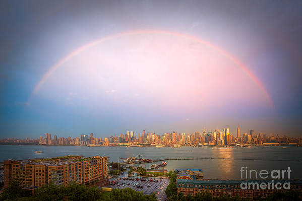 Clarence Holmes Art Print featuring the photograph Rainbow Over New York City II by Clarence Holmes