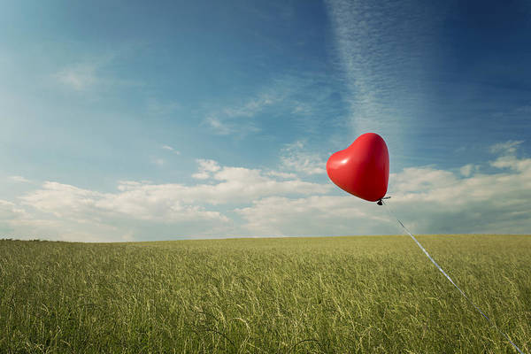 Horizontal Art Print featuring the photograph Red Heart Balloon, Blue Sky And Fields by Image by Debbie Margetts - Ancora Imparo
