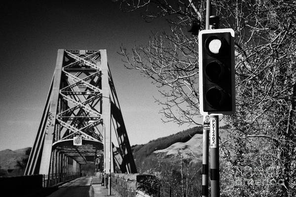 A828 Art Print featuring the photograph Red Light Traffic Control At The Single Track Connel Bridge On The A828 Coastal Route Road Over Loch by Joe Fox
