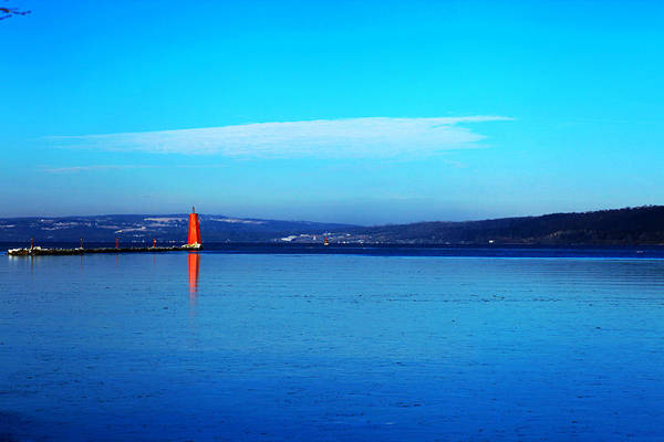 Cayuga Art Print featuring the photograph Red Lighthouse In Cayuga Lake New York by Paul Ge