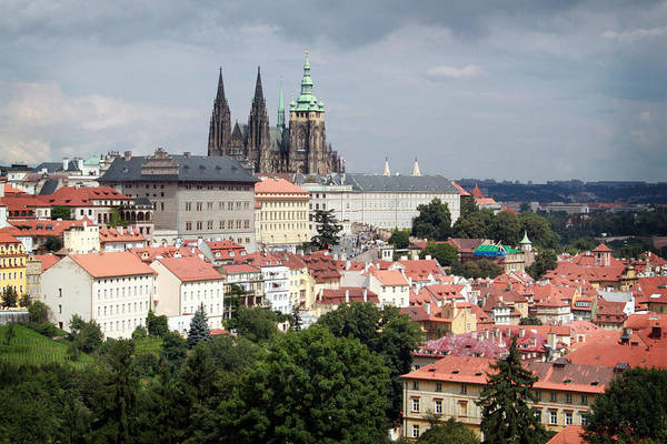 Prague Art Print featuring the photograph Red Rooftops Of Prague by Linda Woods