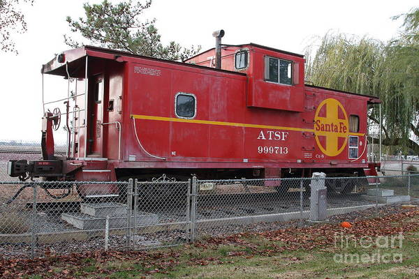Transportation Art Print featuring the photograph Red Sante Fe Caboose Train . 7d10329 by Wingsdomain Art and Photography