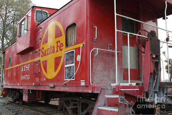 Transportation Art Print featuring the photograph Red Sante Fe Caboose Train . 7d10334 by Wingsdomain Art and Photography