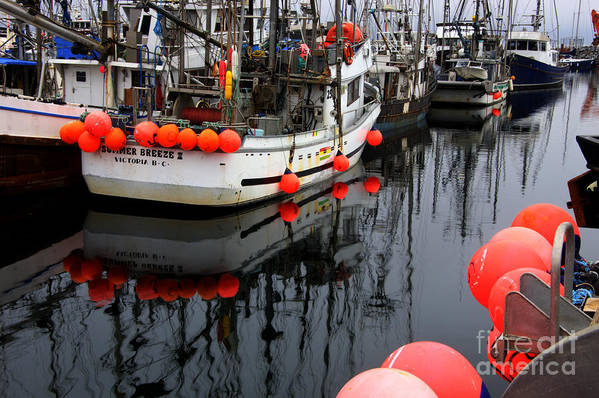 Fishing Boats Print featuring the photograph Reflections At French Creek by Bob Christopher