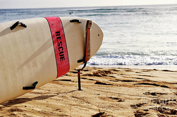 Safety Art Print featuring the photograph Rescue Surfboard by Sami Sarkis