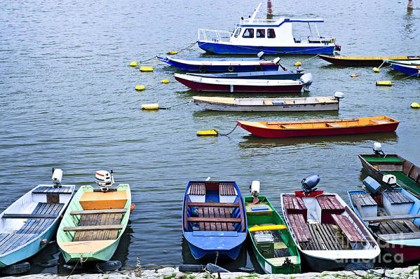 Boats Art Print featuring the photograph River Boats On Danube by Elena Elisseeva