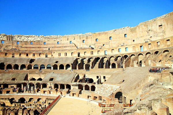 Rome Art Print featuring the photograph Rome Coliseum by Valentino Visentini