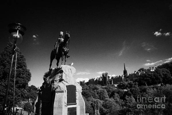 Princes Print featuring the photograph Royal Scots Greys Boer War Monument In Princes Street Gardens Edinburgh Scotland Uk United Kingdom by Joe Fox