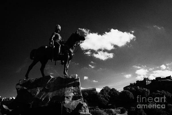 Princes Art Print featuring the photograph Royal Scots Greys Boer War Monument In Princes Street Gardens With Edinburgh Castle In The Backgroun by Joe Fox