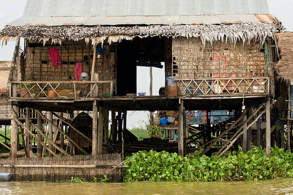 Asia Art Print featuring the photograph Rural Fishermen Houses In Cambodia by Artur Bogacki