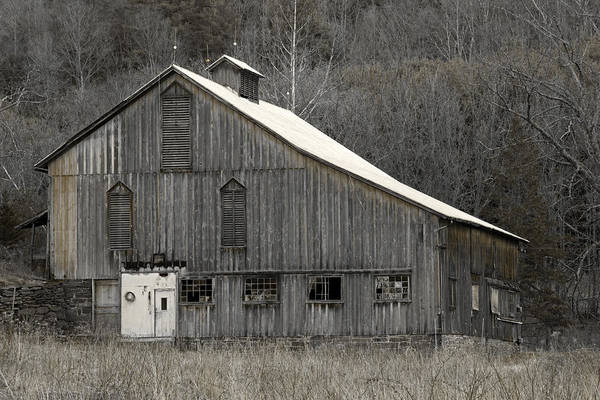 Tin Art Print featuring the photograph Rustic Weathered Mountainside Cupola Barn by John Stephens