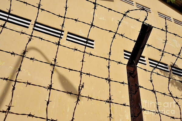 Authority Art Print featuring the photograph Rusty Barbed Wires Fence by Sami Sarkis