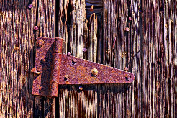 Rusty Barn Door Hinge Art Print featuring the photograph Rusty Barn Door Hinge by Garry Gay