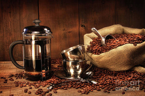 Aroma Art Print featuring the photograph Sack Of Coffee Beans With French Press by Sandra Cunningham