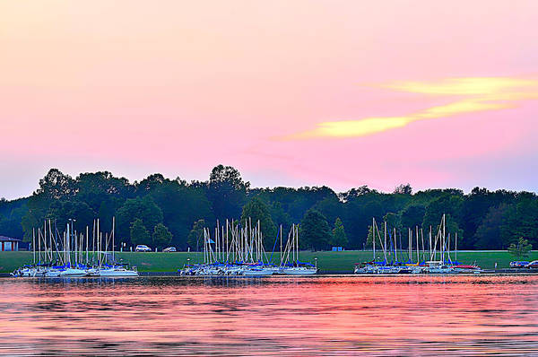 Pink Sunset Art Print featuring the photograph Sail Boats Pretty In Pink by Randall Branham