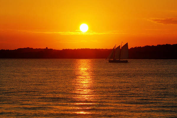 Sail Print featuring the photograph Sail Off Into The Sunset by Andrew Pacheco