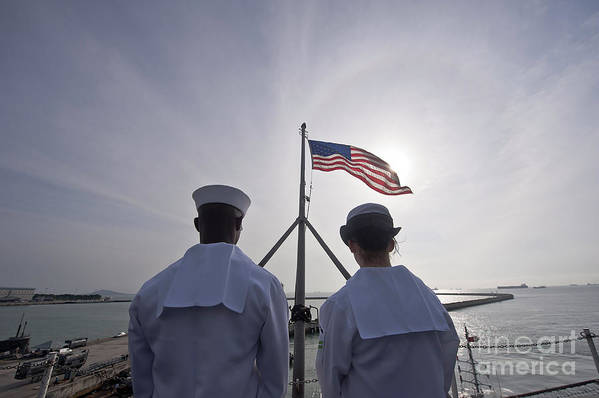 Operation Enduring Freedom Art Print featuring the photograph Sailors Stand By To Lower The Ensign by Stocktrek Images