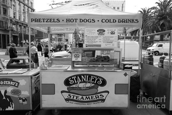Black And White Art Print featuring the photograph San Francisco - Stanley's Steamers Hot Dog Stand - 5d17929 - Black And White by Wingsdomain Art and Photography