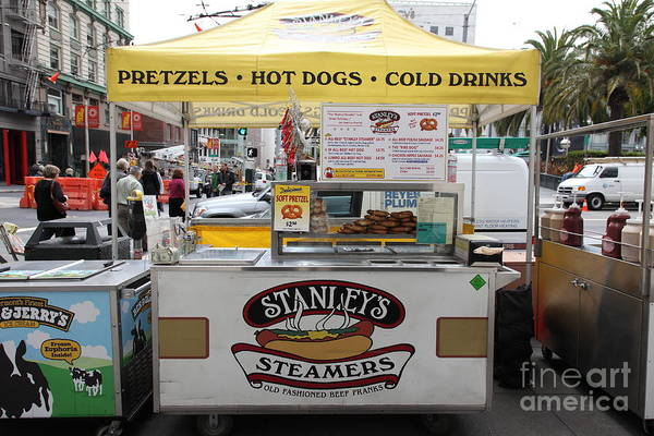 San Francisco Art Print featuring the photograph San Francisco - Stanley's Steamers Hot Dog Stand - 5d17929 by Wingsdomain Art and Photography