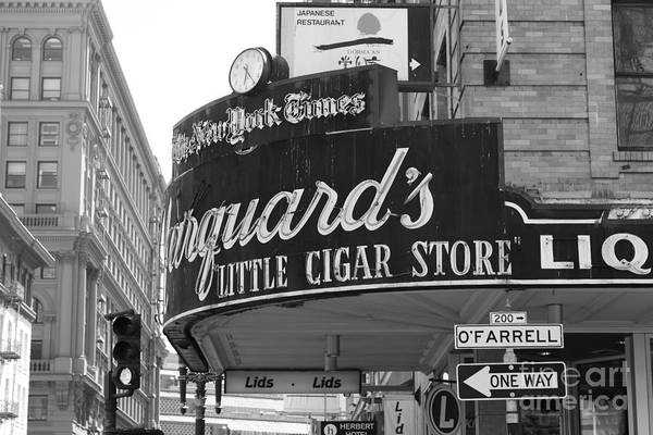 Black And White Art Print featuring the photograph San Francisco Marquard's Little Cigar Store Powell And O'farrell Streets - 5d17954 - Black And White by Wingsdomain Art and Photography