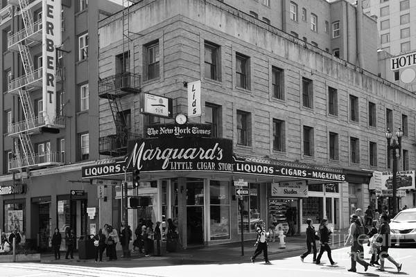 Black And White Print featuring the photograph San Francisco Marquards Little Cigar Store Powell Street - 5d17950 - Black And White by Wingsdomain Art and Photography