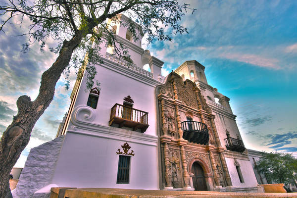 San Xavier Mission Art Print featuring the photograph San Xavier Del Bac Mission by Michael Yeager