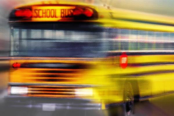 School Art Print featuring the photograph School Bus Rush by Steve Ohlsen