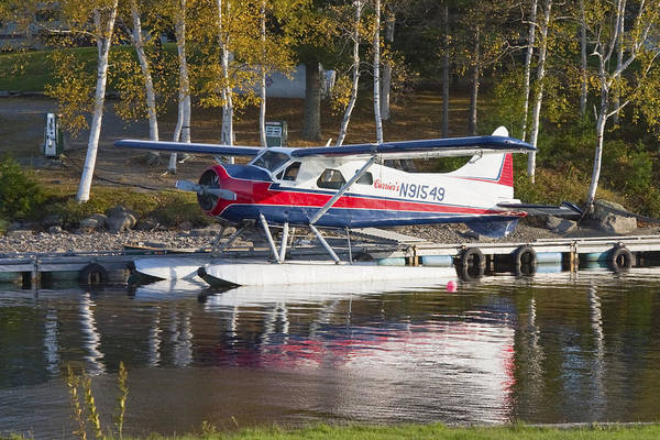 Airplane Art Print featuring the photograph Seaplane On Moosehead Lake In Maine Canvas Photo Poster Print by Keith Webber Jr
