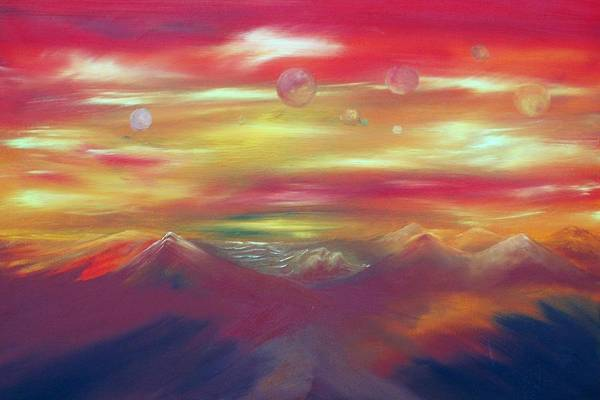 Planets Art Print featuring the painting Shadow People by Joseph Schatz