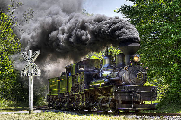 Locomotive cass Scenic Railroad west Virginia Scenic Rural Lumber Timber Cass steam Engines steam Locomotive Railroad Railway Shay Art Print featuring the photograph Shay Number Five by Tom Steele