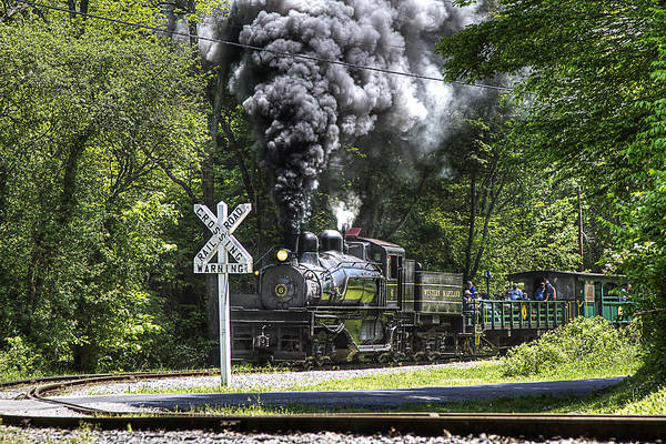 Cass Trains Railroad cass Scenic Railroad west Virginia Steam Locomotive steam Locomotive Railway Rural Scenic Shay Rails Trails Old Art Print featuring the photograph Shay Six At Back Mountain Road by Tom Steele
