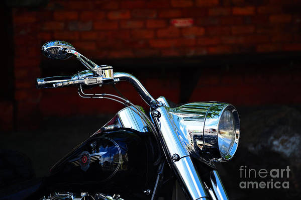 Vehicle Art Print featuring the photograph Shiny Harley by Elaine Manley