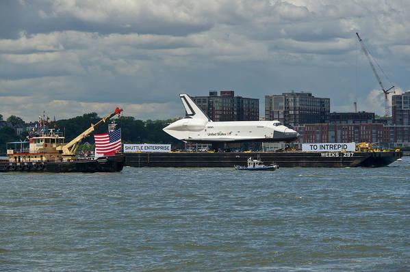 Space Shuttle Art Print featuring the photograph Shuttle Enterprise Flag Escort by Gary Eason