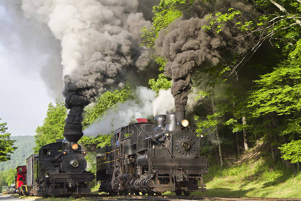 Cass Trains Railroad cass Scenic Railroad west Virginia Steam Locomotive steam Locomotive Railway Rural Scenic Shay Rails Trails Old Art Print featuring the photograph Side By Side by Tom Steele