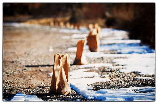 Taos Art Print featuring the photograph Side Road Luminaries by Lisa Spencer
