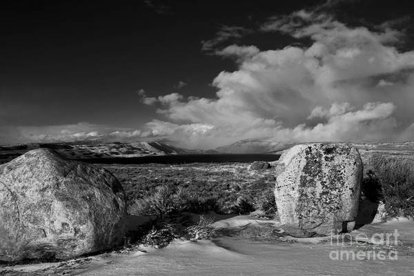 Freemont Lake. Snow Art Print featuring the photograph Small Squall In B N W by Edward R Wisell