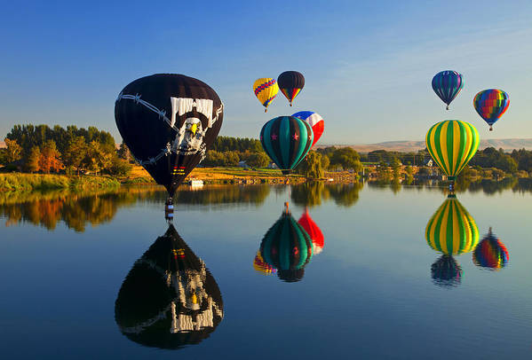 Balloons Art Print featuring the photograph Soft Landings by Mike Dawson