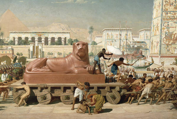 Temple Art Print featuring the painting Statue Of Sekhmet Being Transported Detail Of Israel In Egypt by Sir Edward John Poynter