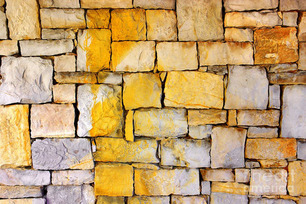 Abstract Art Print featuring the photograph Stone Wall by Carlos Caetano