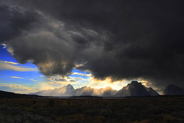 Sky Art Print featuring the photograph Storm Over The Tetons by William Joseph