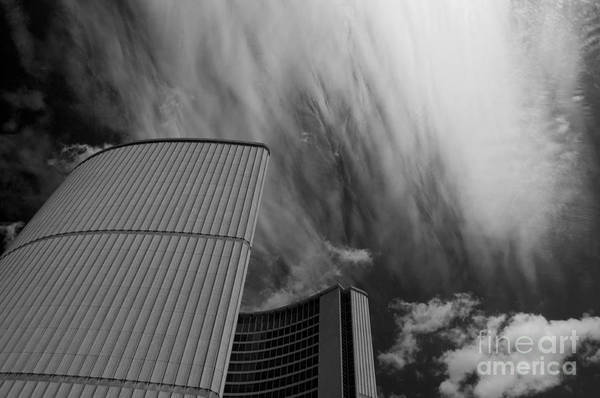 Clouds Art Print featuring the photograph Streaks And Puffs Over City Hall by Gary Chapple
