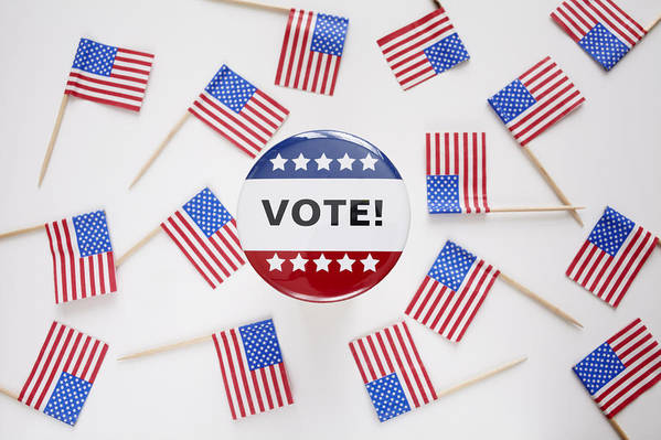 Horizontal Art Print featuring the photograph Studio Shot Of Vote Pin And Small American Flags by Winslow Productions