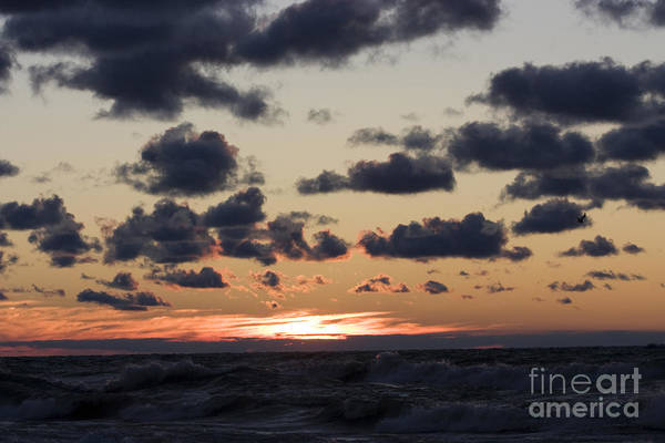 Horizontal Print featuring the photograph Sun Setting With Dramatic Clouds Over Lake Michigan by Christopher Purcell