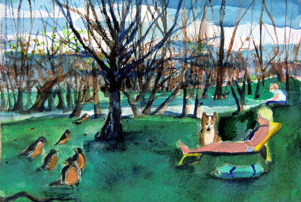 Robins Art Print featuring the painting Sunbathing With Friends by Mindy Newman