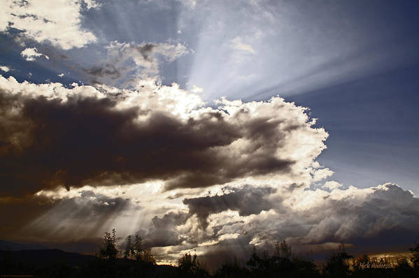 Sunlight Print featuring the photograph Sunlight And Stormy Skies by Mick Anderson
