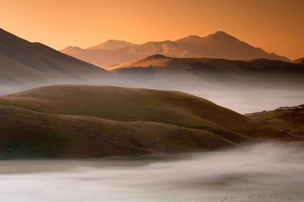 Horizontal Art Print featuring the photograph Sunrise Castelluccio Di Norcia In Morning Fog by Michele Berti