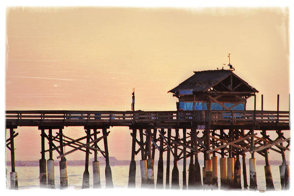 Sunrise Art Print featuring the photograph Sunrise On Rickety Pier by Janie Johnson
